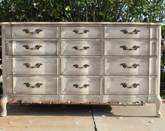 SOLD - Vintage French provincial dresser / credenza - ivory / white / newly painted in shabby chic solid wood by Permacraft