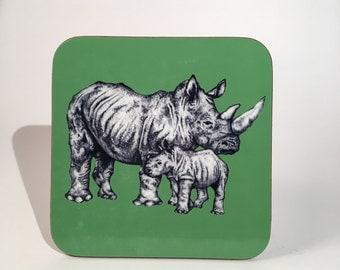 Hand Drawn Green Rhinoceros Animal Coaster - Rhino Gift