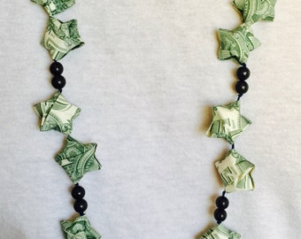 Origami Money Puff Stars and Wooden Beads Graduation Lei, Hawaiian Lei, Origami Necklace