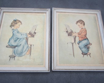vintage set of pictures by Anne Allaben, children playing piano, 1960s prints