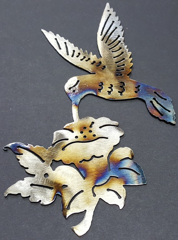 Hummingbird w/ Flower Style 1 & 2, Wall Hanging, bird, Hummingbird, New World Birds