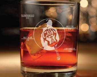 Johnny Cash inspired rocks glass- Set of two (johnny cash art, country music, Folsom Prison, Boy named sue, Ring of Fire, Walk the line)
