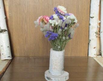 Dried flower arrangement, rustic wedding decor, floral arrangement, wedding centerpiece,home decor,natural decor,birch log decor,table decor