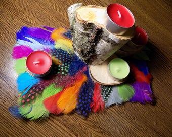 Feather arrangement, Wooden candle holder, Wood slice centerpiece, Beach wedding, Rustic wedding decor, wedding centerpiece, table decor