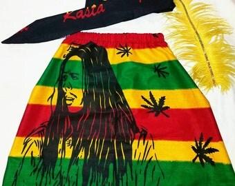 Rasta skirt/jamaican skirt/rasta headtie/ethnic skirt/toddler skirt/infant skirt/plus size/baby clothes/girls skirt/bob marley skirt.