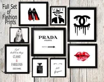 Fashion set prints, Coco Chanel perfume print, kate moss wall art, eyelashes poster, prada sign, heels print make up wall art,magazine cover