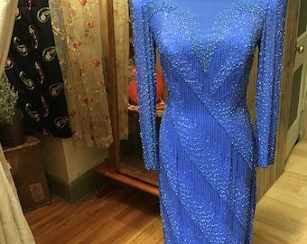 Blue silk beaded gown