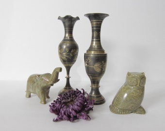 Two Beautiful Vintage Etched Brass Vases