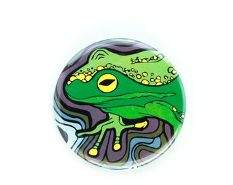 """Pinback Button, 2.25"""" Original Art Pin, Psychedelic Frog #1, 2 1/4 in"""
