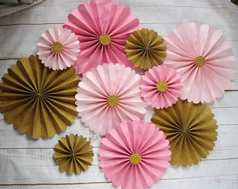 10pcs Gold Pinwheel Backdrop, Romantic Pink Wedding Paper Rosette Background, Hen Party Supplies Princess Party Favor
