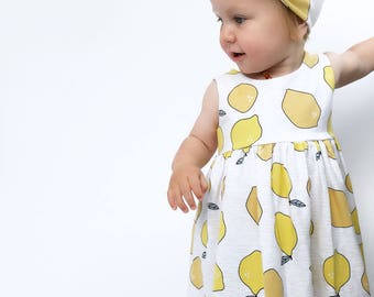 Organic Lemons dress, girls dress, toddler, handmade, dresses, baby dress, lemon print, newborn, baby gift, fruit print, baby gift