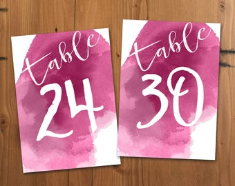 Fuschia Watercolor Table Numbers 21-30, Printable Table Numbers, 5x7 Jewel Tone Wedding Table Numbers