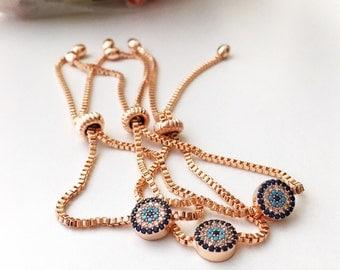 SALE 25% OFF- Evil eye bracelet, adjustable bracelet, evil eye bead bracelet, rose gold bracelet, zirconia evil eye jewelry, rose jewelry