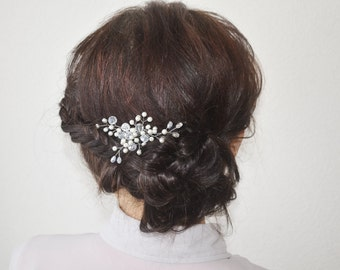 Wedding hair pins, Bridal Hair Pins, Pearls Hair Pins, Silver bridal pins, Bridal hair piece, bridesmaid gift, prom hair piece, crystal pin