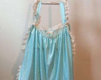 Vintage 80's Elissa powderpuff blue french maid negligee. Size med/lrg.