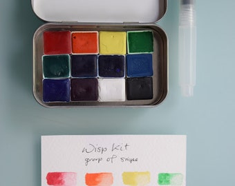 Watercolour aquarelle handmade travel paint kit - 12 half pans WISP kit - Free Tin and Waterbrush included
