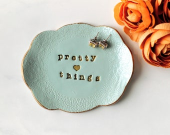 Blue Clay Ring Dish, Ring Holder, Jewellery Plate, Trinket Tray, Gift for Her, Desk Organizer, Bridesmaid Gift, Girlfriend Gift, Ring Holder