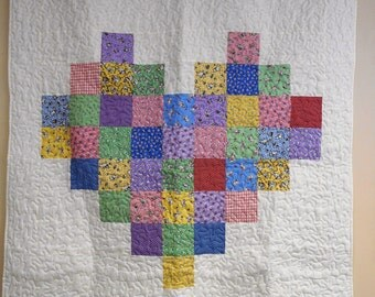 "Handmade Quilt, Patchwork Heart Quilt, Lap/Throw Quilt, Child Quilt 50"" x 58"""
