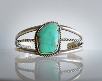 American Native Navajo Design Turquoise and Silver Bracelet