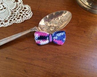 Pink/Blue Vareigated Mini Hair Bow
