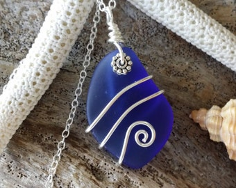 Design and handmade in Hawaii, Wire wrapped cobalt blue sea glass necklace, Sterling silver chain, gift box,  Mother's Day gift