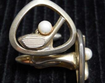 Golf Cufflinks Gold Tone Vintage