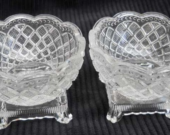 Salt Cellar Pressed Glass Vintage Pair