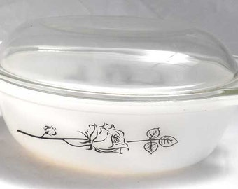Agee Pyrex Casserole Dish Black Rose CO-134-CU
