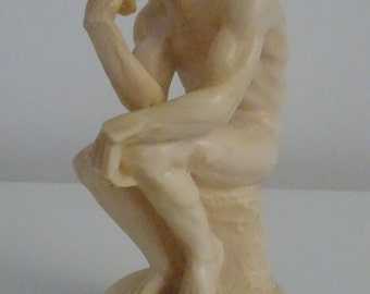 Rodin's Thinker - Italian Bonded Marble Statue, Signed Santini