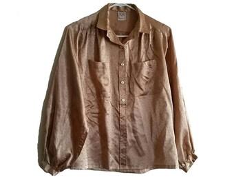 Vintage Gold Silk 70s Blouse • Size MEDIUM • Retro Silk Shirt • 70s Vintage Clothing • Silky Gold Blouse with Puffy Sleeves