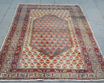 vintage ouschak rug 218x133cm  7,1x4,3 feet,turkish rug,living room rug,boho rug,wool rug,hand made rug,home decor rug