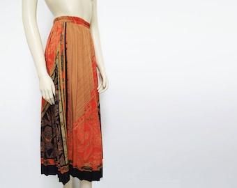 Free Shipping* Vintage Skirt, Boho, 1980s, Hippie, Hippy Skirt, Vintage Clothing, Maxi Skirt, Pleated Skirt, Pleated Midi Skirt, Abstract