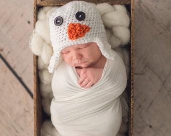 Crochet Snowman Hat | 0 - 3 Months | Ready To Ship
