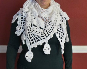 Skull scarf- Skull wrap - Skull Shawl - Winter white skull wrap - Fancy scarf - Lace neck wrap