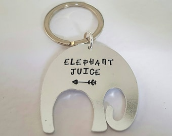 Elephant Keyring,  elephant juice, I love you, can be personalised