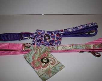 """5 Foot Dog Leash with Coordinating Patterned Handle 3/4""""Wide Webbing"""