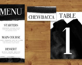 Bold Black and White Place Cards, Table Numbers, Menu Cards - Black and White Wedding - Table Name - Name Card - Wedding Stationery