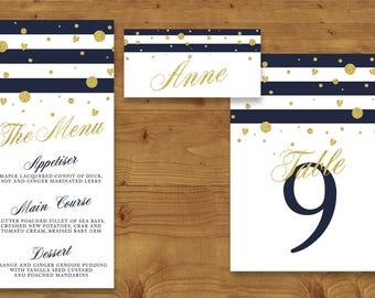 Navy, White and Gold Place Cards, Table Numbers, Menu Cards - Navy Wedding - Gold - Nautical - Table Name - Name Card - Wedding Stationery