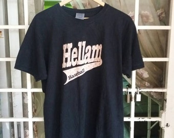 Vintage Hellam Baseball tshirt /black/large/sportwear/streetwear/spellout/made in usa