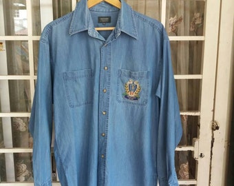 Vintage Trussardi jeans shirt button down embroidery logo/blue/46 size