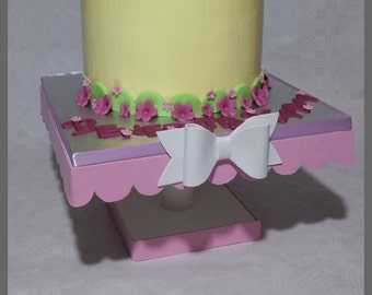 Pink and white raised for cakes and pastries birthday, Baptism, communion, confirmation, wedding