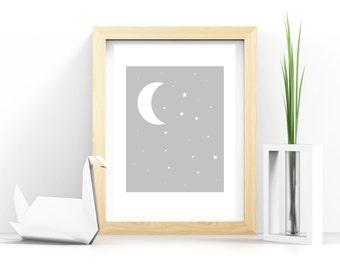 Gray nursery wall art, baby wall Art, PRINTABLE moon and stars, baby bedroom, kids bedroom, baby art, nursery art, nursery decor, neutral