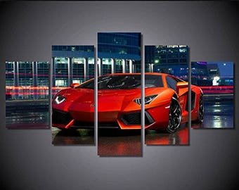 Red lamborghini print canvas poster decoration 5 pieces