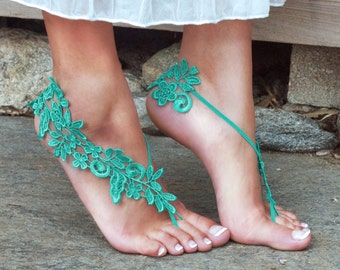 Turquoise Bare Foot Lace Sandals, LYNSAY, Barefoot Lifestyle, Beach Wedding, Bellydancer, Festival Gear, Aqua, Pop of Color, Aquamarine Blue
