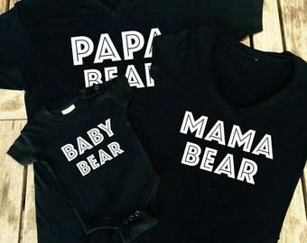 Mama bear, papa bear & baby bear OR man cub T-shirts. Mum dad baby matching tops and vest