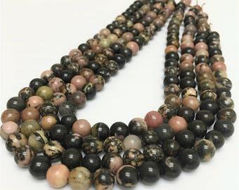 8mm Rhodonite Beads, Gemstone Beads, Wholesale Beads