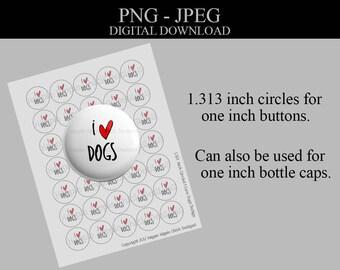 1.313 Inch Circles - Bottlecap Images - Digital Collage Sheet - Dog Lover - Printable Sheet - Commercial License - Button Images - Printable