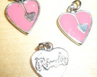 Enameled heart pendant/charm for bracelets, chains, etc. - pink or red - 12x15mm