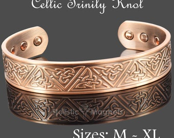 Mens Womens Copper Bracelet   Pure Copper Unisex Bangle with 6 Powerful Magnets   Copper arthirtis bracelets men women - Celtic Trinity Knot