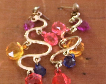 Vintage New Gold Tone S like Shape with Plastic Gems Earrings